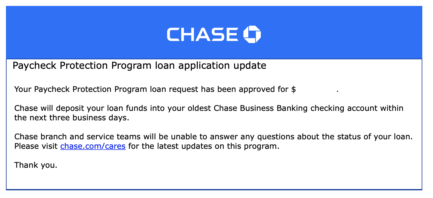 chase PPP approval email